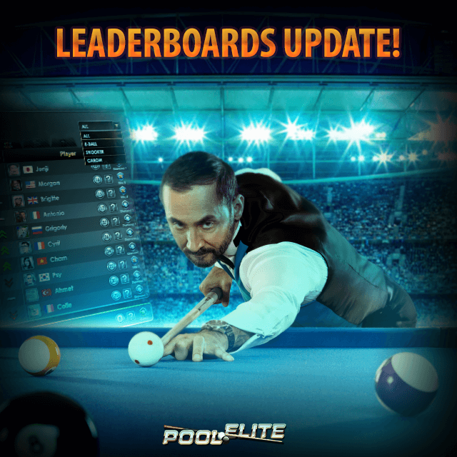 leaderboards update in pool elite elo league 8 ball 9 ball carom 3 cushion snooker