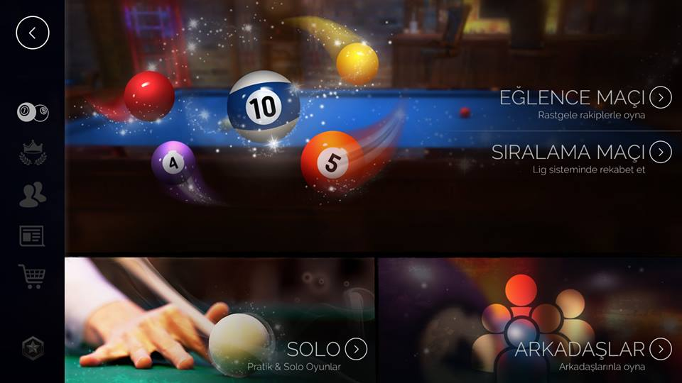 pool elite 3d billiards game free mobile v1.0 update güncelleme casual match ranked match solo friendly chips matchmaking how to play snooker carom karambol 3 bant unequip