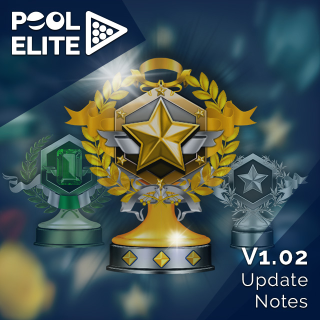 pool elite 3d billiards game free mobile v1.0 update güncelleme casual match ranked match solo friendly chips matchmaking how to play snooker carom karambol 3 bant unequip v1.01 v1.02 trophy seasonal leagues power bar