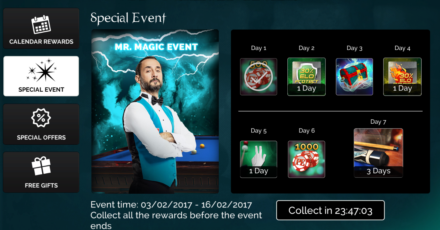 pool elite gifts calendar rewards special event special offers free gifts poolelite 3d pool game